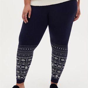 Torrid Leggings Sweater Knit Blue Skulls Fair Isle